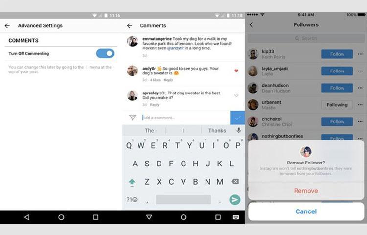 Instagram nhận bản cập nhật mới, lọc comment lăng mạ, xóa follower và report post